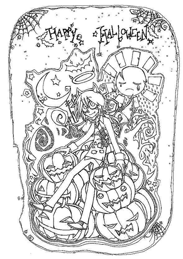Happy Halloween coloring page for adults. Halloween