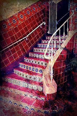 """Mexican Tile - Ceramic Tile Staircase in Brentwood, Los Angeles, California, Fine Art Photography 8x10"""" Matte Print, READY to SHIP. $25.00, via Etsy."""