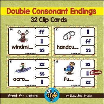 Double Consonant Endings (ll, ff, ss, zz)  Clip Cards