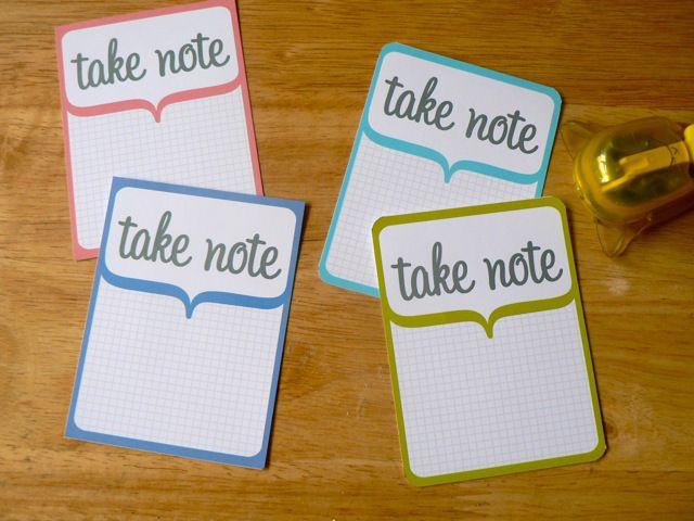 take note printable cards