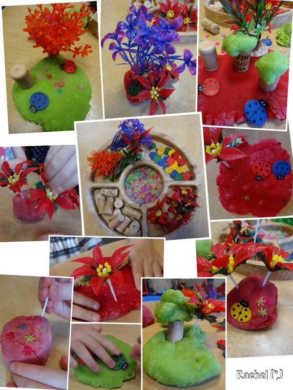 Dough Gardens with coloured, scented dough, ladybirds, flower beads, plants and corks.
