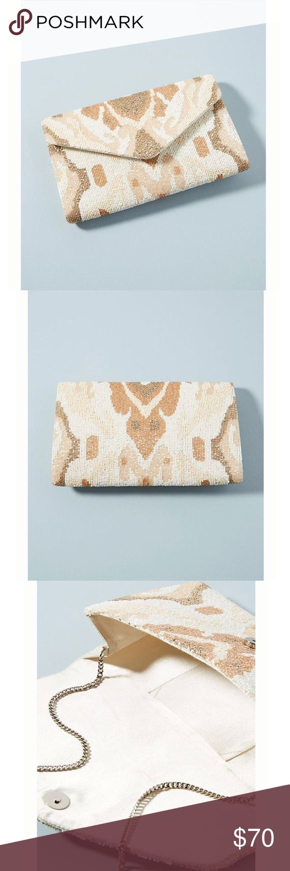 Anthropologie Holiday Beaded Envelop Clutch New with tag, really elegant. The neutral color is easy to style. Anthropologie Bags Clutches & Wristlets
