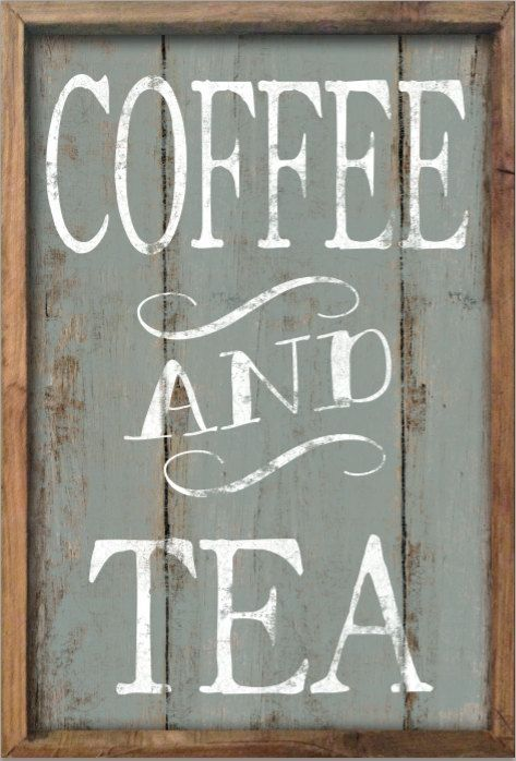 Coffee and tea wooden sign framed out in wood. Approx. 13.5x19.5x2. Handmade. Art is applied to wood then sealed with polyurethane for