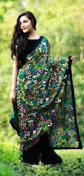 Mille Fleurs/A Thousand Flowers Pure Silk Chiffon Saree
