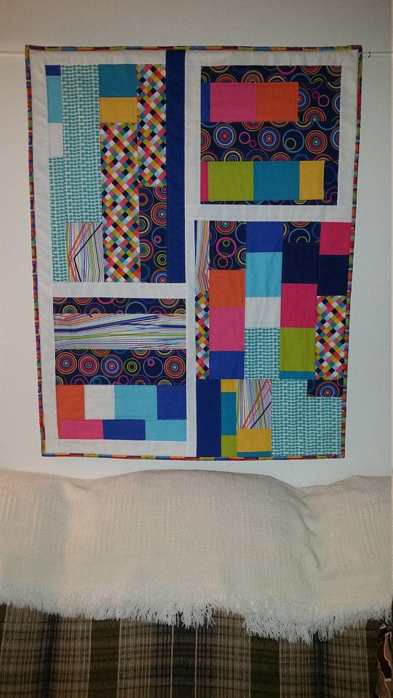 Modern Quilted Art Wall Hanging Bright Home Decor Contemporary