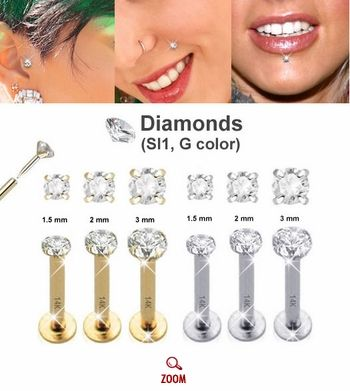 14k Diamond Cartilage Tragus Helix Monroe Nose Stud Earring