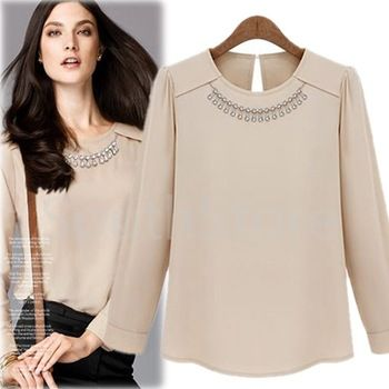 2013 Autumn New Fashion Women's OL Chiffon Shirt Diamante O-Neck Puff Sleeve Solid Color Simple Style Ladies' Blouse in Stock