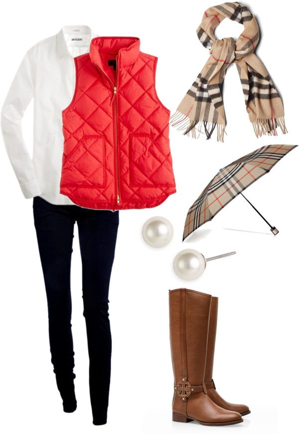 This is so perf for lunch with the girls on a rainy day! I would carry a different umbrella, because I feel the Burberry on Burberry is too much! Red Quilted Puffer Vest