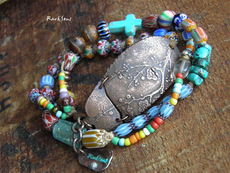 Bracelet bohème double rangs,bracelet nomade,hippie,bracelet bohémien,turquoise,bleu,coloré,style rustique,pièce en cuivre : Bracelet par rare-et-sens