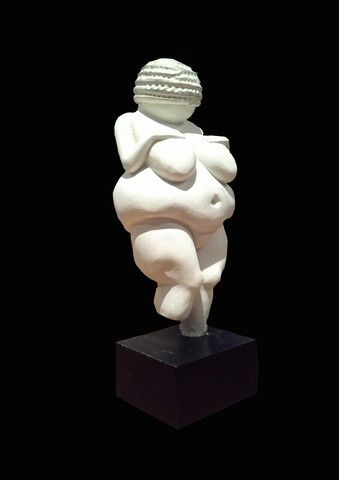 Venus of Willendorf on Black Stand. Fertility, Pagan, Mother Goddess and Feminine Nature