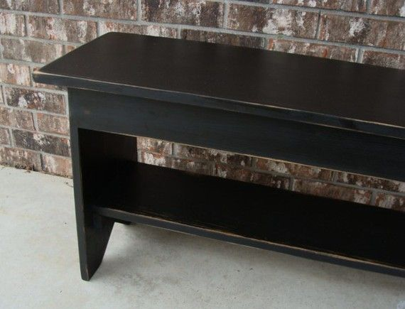 Shabby Farm Cottage Black Wood Bench Storage Coffee Table: Entryway Bench