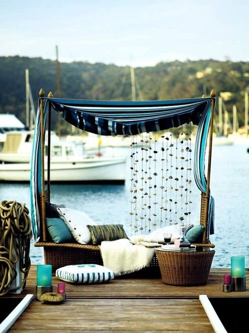: Outdoor Beds, Summer Fashion, Wicker Furniture, Coastal Style, Reading Nooks, House, Places, Beaches Living, Furniture Ideas