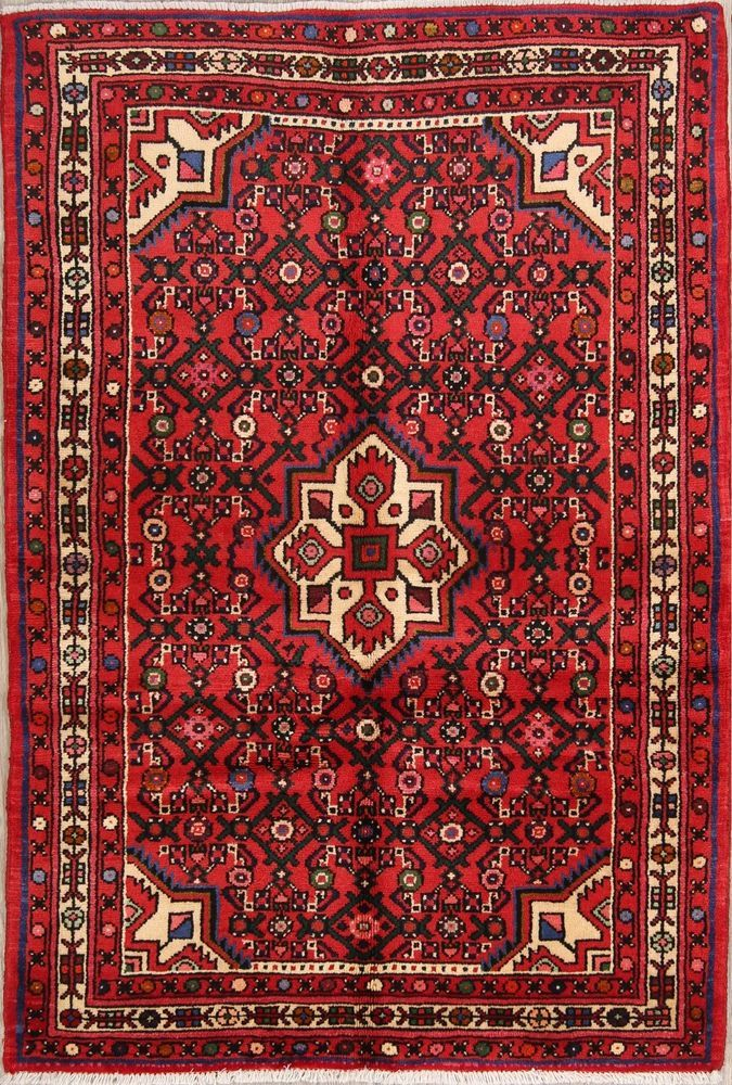 225 Knots Foyer Size Red 3x5 Hamedan Persian Oriental Area Rug 4 11