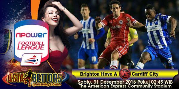 Prediksi Brighton Hove Albion vs Cardiff, Prediksi Bola Brighton Hove Albion vs Cardiff, Brighton Hove Albion vs Cardiff City akan bertemu di partai lanjutan Championship Inggris yang rencananya akan digelar pada hari Sabtu, 31 Desember 2016 Pukul 02:45 WIB dan disiarkan secara live dari The American Express Community Stadium, Falmer, East Sussex.