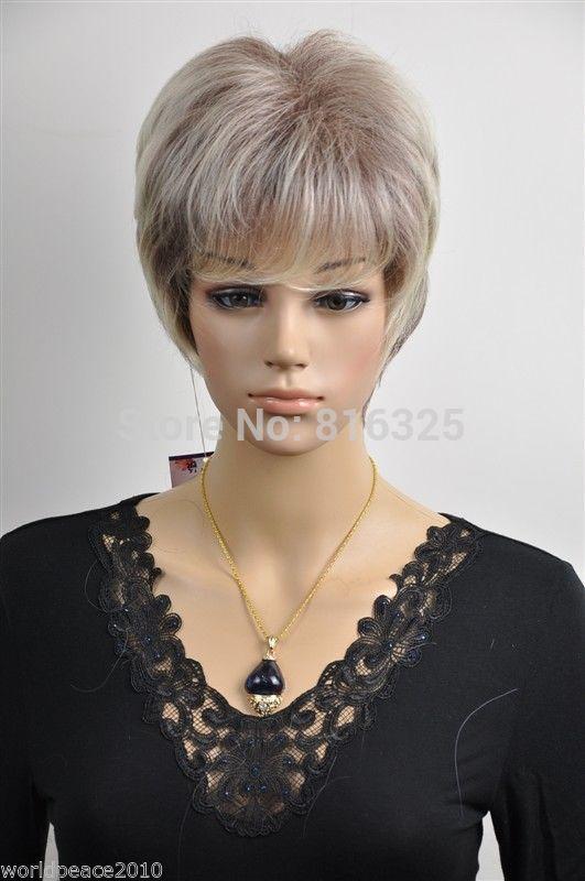 БЕСПЛАТНО P & P>> светло-русый серый коричневый смешанный короткие прямые косплей полный парик