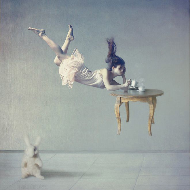 Her series Distorted Gravity is an experiment in levitation. Zhuravleva is a member of the Russian Union of Art