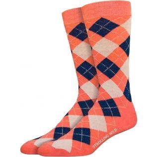 Melon, Navy & Beige Argyle Socks for Men