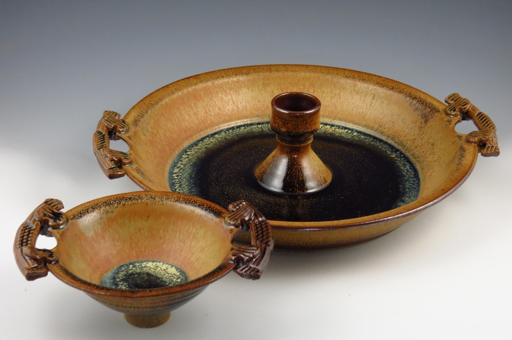 Roly Boni from Mudslide Pottery - stoneware chip-n-dip with dip bowl removed