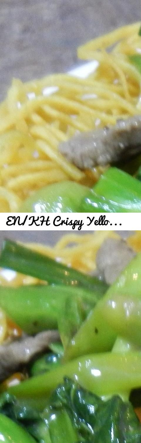 EN/KH Crispy Yellow Noodles with Chinese  Broccoli and Beef Recipe... Tags: Food, Eating, Recipes, Cuisine, Delicious, Tasty, Noodles, Vegetables, Meat, Meat
