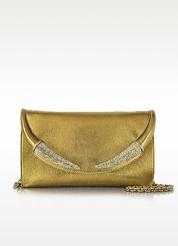 ROBERTO CAVALLI RASO GOLD METALLIC NAPPA CLUTCH. #robertocavalli #bags #clutch #metallic #hand bags #