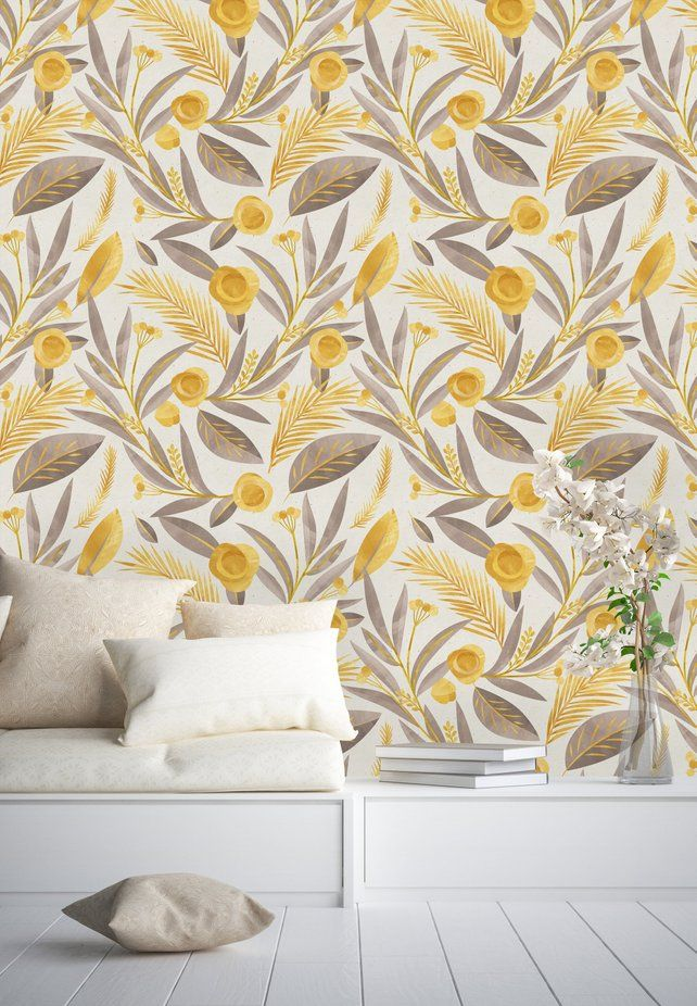 Gold Palm Leaves Removable Wallpaper Peel And Stick Etsy Wall Wallpaper Modern Wallcovering Wall Murals