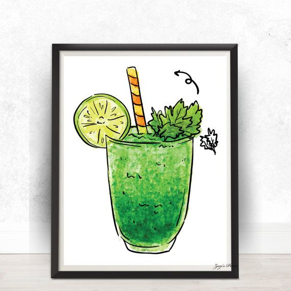 Green Smoothie Watercolor Digital PrintPoster Wall by ZuzisPrints
