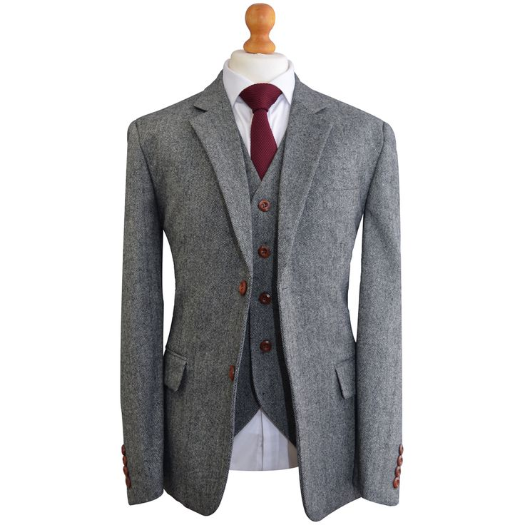 Grey Classic Barleycorn Tweed Suit | Made from our 100% tweed wool & finished with a classic modern slim fit.