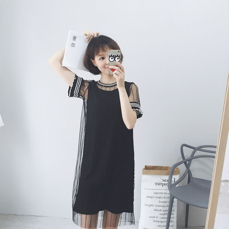 2016 new wave of female summer dress simple wild T shirt dress Korean version of the long section lace dress two-piece female - Taobao global Station