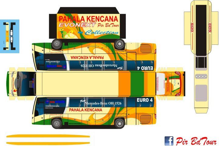 Pola Papercraft Bus Indonesia
