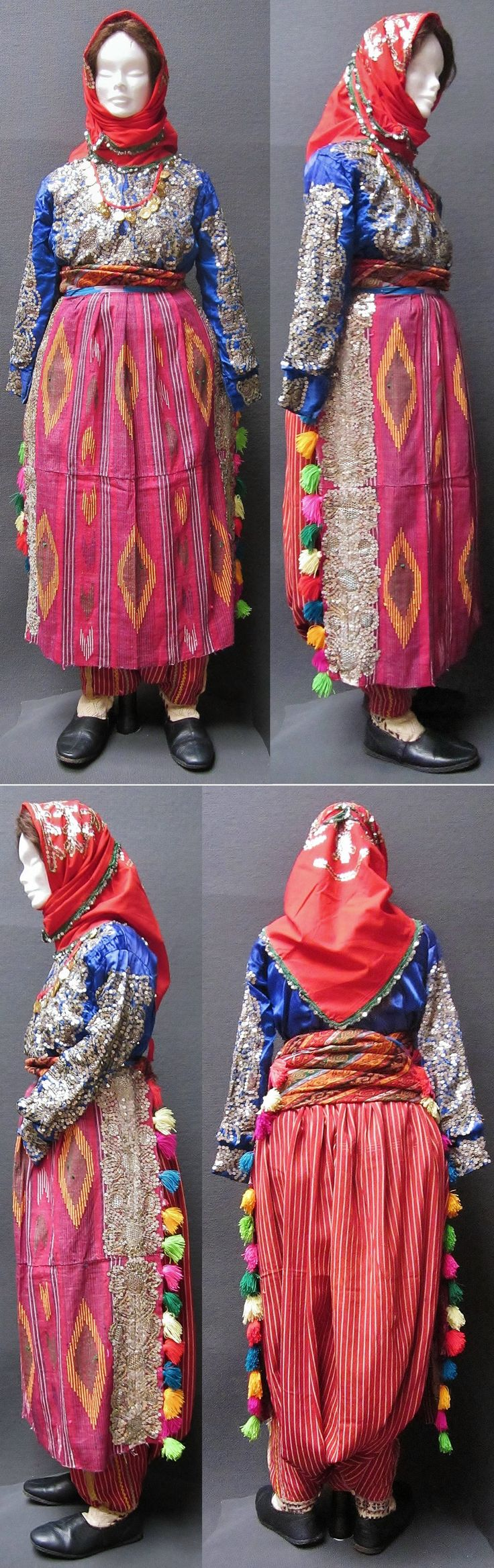 A traditional bridal costume from the Sandıklı district (Afyon province). Style of 1950-1975. The red head scarf, the shirt and the apron are adorned with metal sequins and 'tel kırma' embroidery (motives obtained by sticking narrow metallic strips through the fabric and folding them). (Kavak Costume Collection-Antwerpen/Belgium).