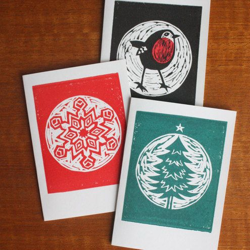 Christmas Card - Pack of 3 (Linocut). this is very cute and well lino cut series. i like the idea mixed colour.