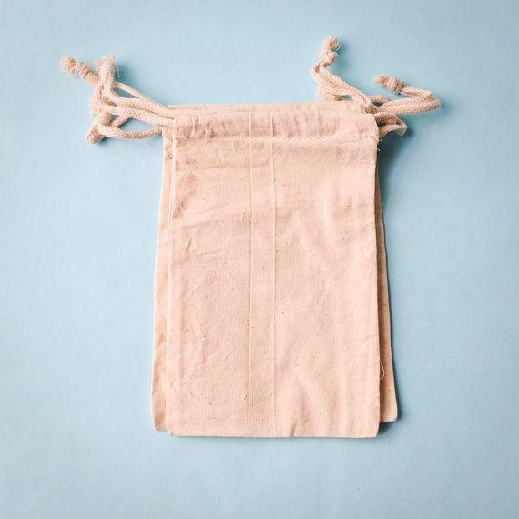 30 Muslin Bags 5x8, Natural Drawstring Sack, Rustic Gift Bag Wedding Favor