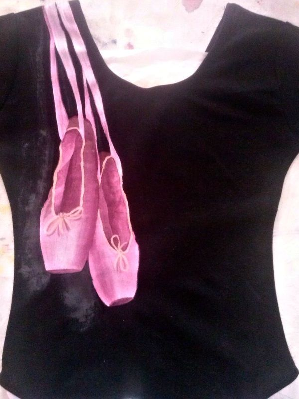 NotYourUsualTee | Hand painted bodice or t shirt. I use non-toxic, water based, permanent fabric colors. | I painted these ballet pointe shoes on a black bodice for a young ballerina. (Sorry for the bad photo!)