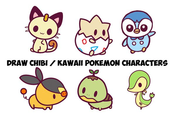 Here is a guide to drawing a bunch of kawaii / chibi Pokemon characters. This…
