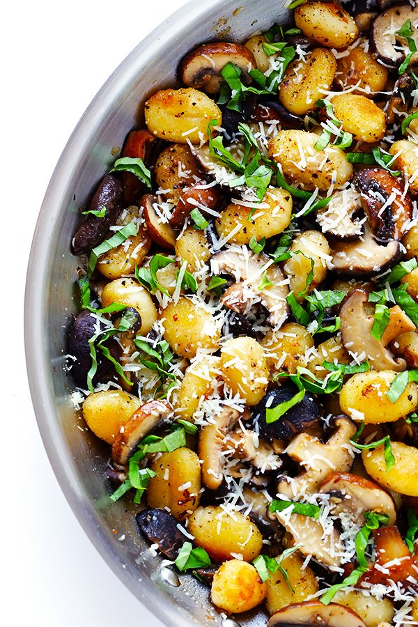 This Toasted Gnocchi with Mushrooms, Basil and Parmesan recipe only takes about 30 minutes to prepare -- looks delicious!