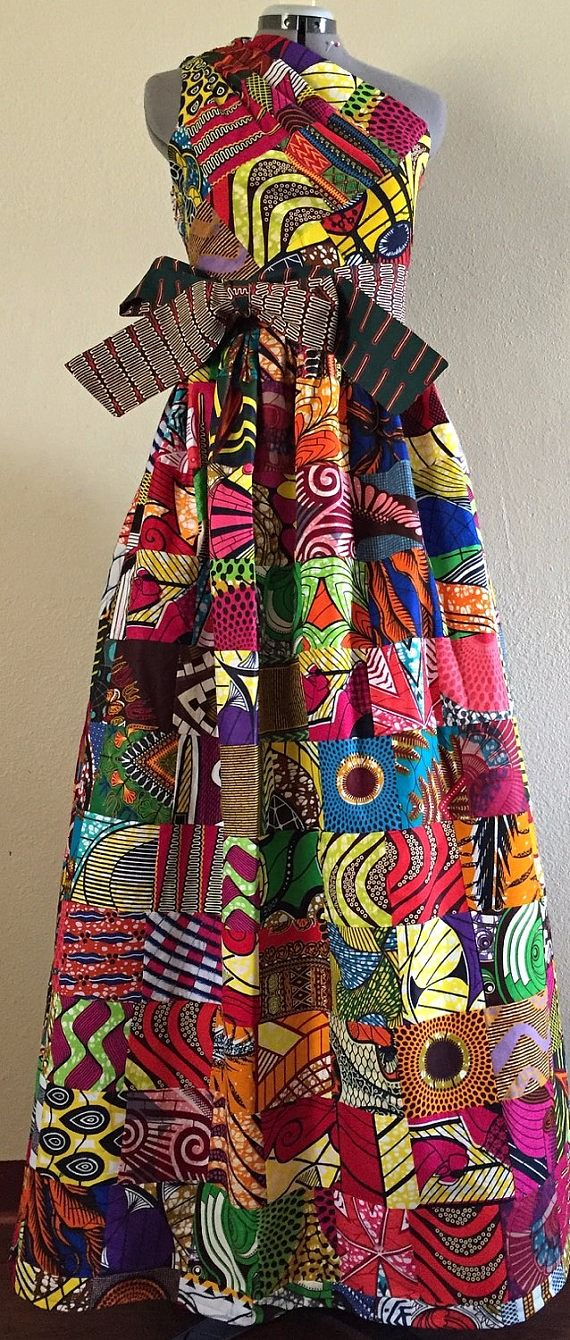Magnificent Reversible Patchwork One Shoulder Maxi Dress Rock Two Looks in 1 African Wax Print 100% Cotton. Ankara | Dutch wax | Kente | Kitenge | Dashiki | African print bomber jacket | African fashion | Ankara bomber jacket | African prints | Nigerian style | Ghanaian fashion | Senegal fashion | Kenya fashion | Nigerian fashion | Ankara crop top (affiliate)