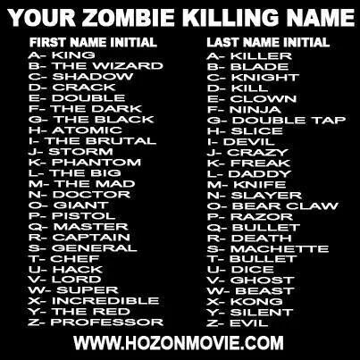 So awesome! My zombie killing name is