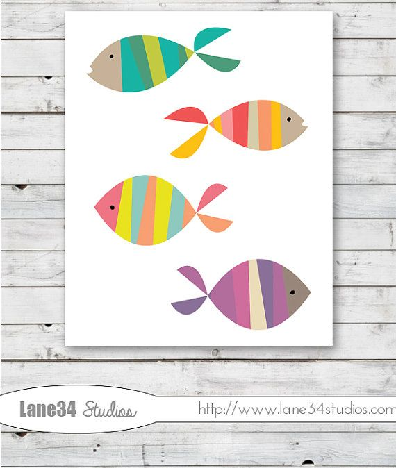 Just keep Swimming Fish   Art Print for home decor by Lane34Party, $12.00