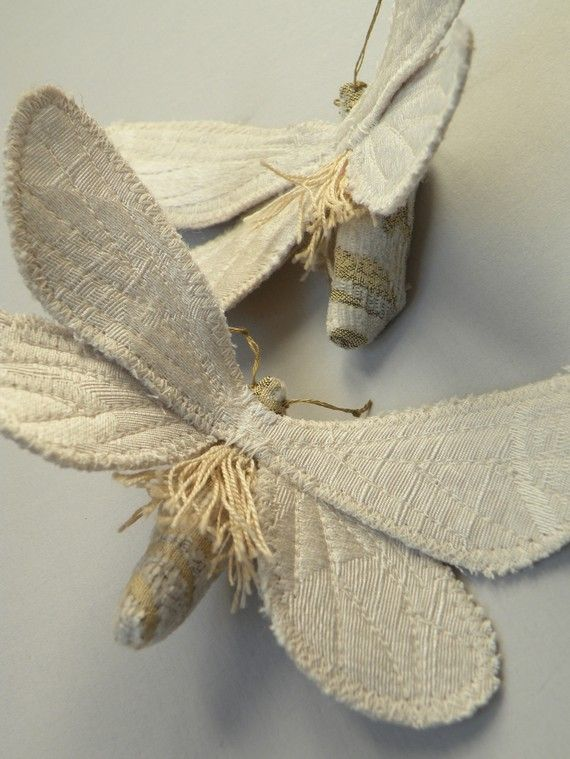 Handmade Ghost Moth Brooch / Fabric Brooch / White Satin with Vintage Trim