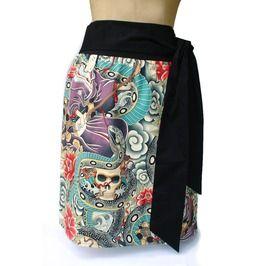 """Twist Her"" Japanese Zen Tattoo Skirt"