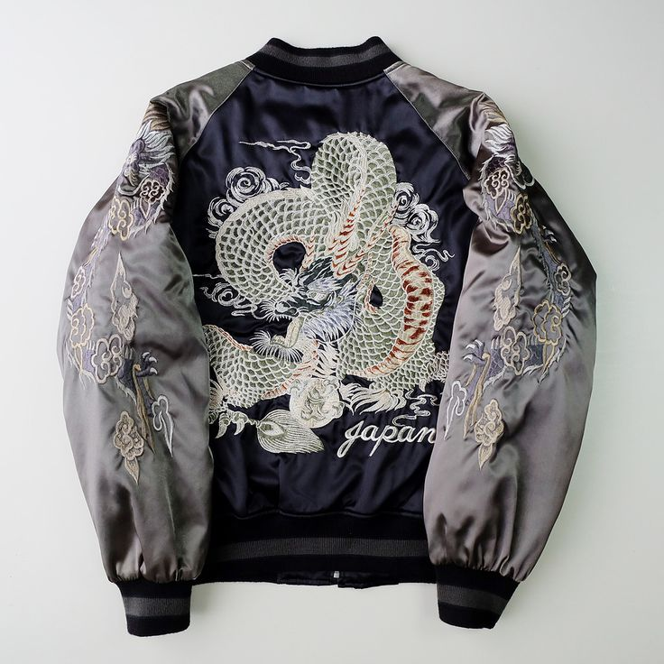 Vintage Japanese Yokosuka Jumper Black Dragon Ryu Tattoo Art Design Dope Badass Embroidered Bomber Sukajan Souvenir Jacket - Japan Lover Me Store