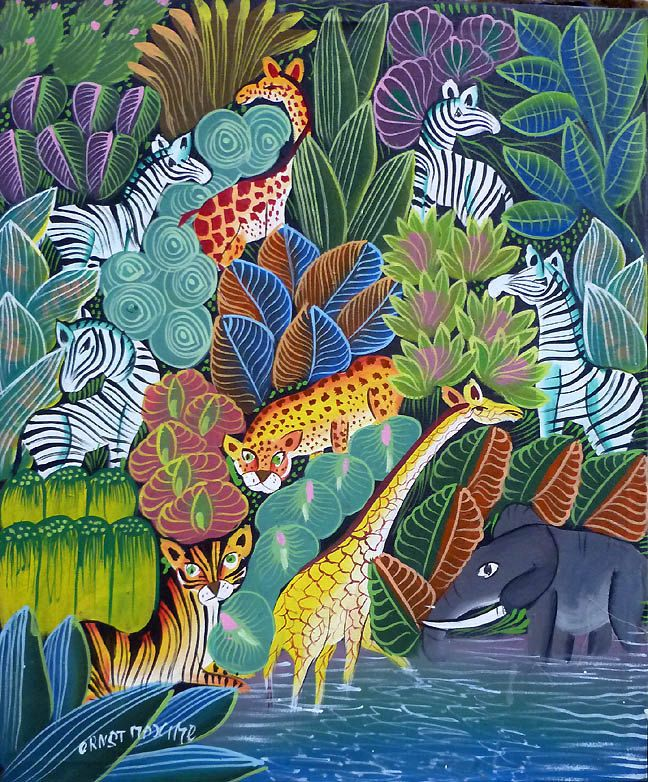 """Jungle Scene - Animals -  Haitian Art Canvas Painting - Art of Haiti - Primative Caribbean Art, Canvas Painting - 20"""" x 24"""" - 265 by TropicAccents on Etsy"""