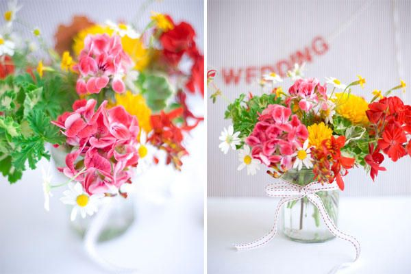 I love the bright colors and loose collection of flowers...this would work in both formal and casual settings.