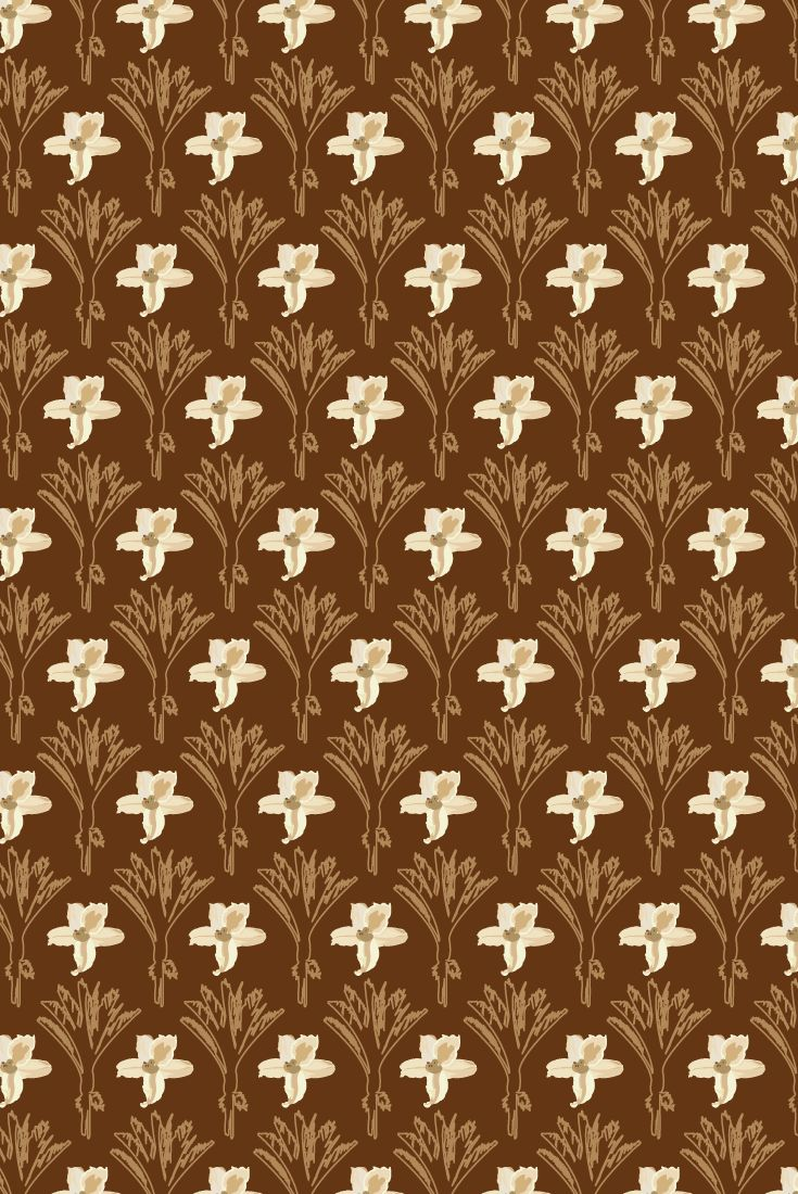 Nikau tree and flower pattern in shades of brown. Kiwiana surface print design. Design by Cheyney is a small boutique Graphic Design business based in Auckland, New Zealand. Cheyney offers a range of services for clients all around the world. Her specialties include packaging, logo, branding, print, digital and website designs.