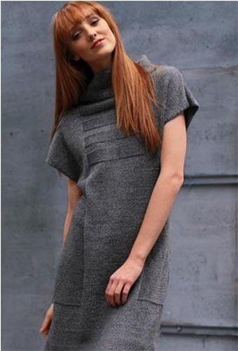 Платье-туника с воротником стойкой