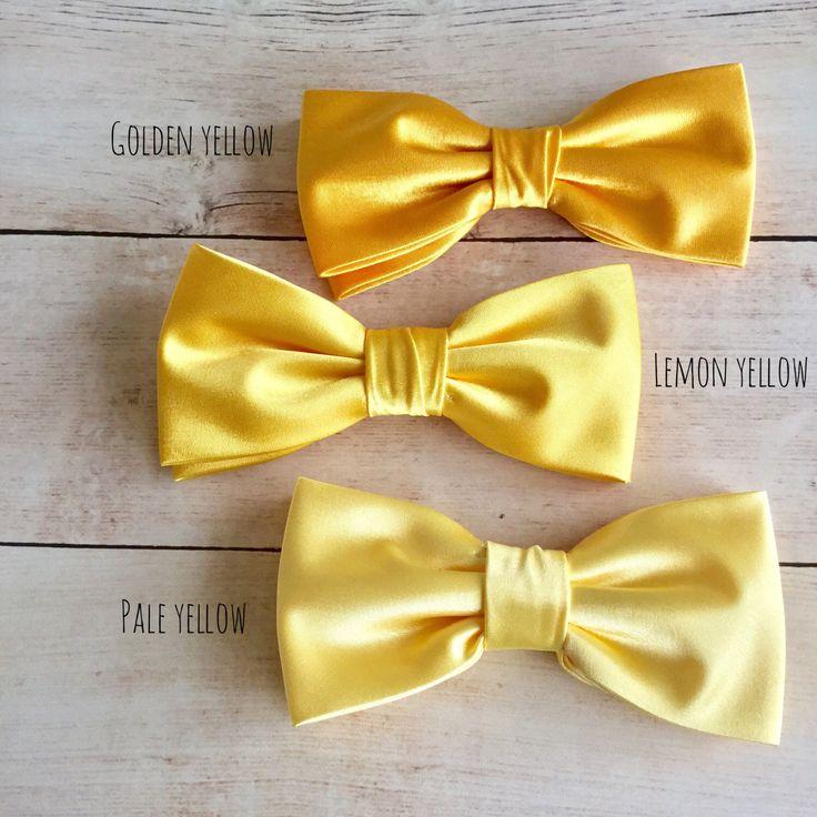 Golden Yellow Satin Bow tie, Lemon Yellow Bowtie, Pale Yellow BowTie, Wedding Bow Tie, Bowtie for Groom & Groomsmen, Mens Bowtie, Kid Bowtie by GloiberryBowtie on Etsy https://www.etsy.com/uk/listing/517996389/golden-yellow-satin-bow-tie-lemon-yellow