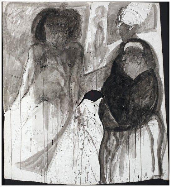 José Luis Cuevas – El Dolor Humano, serie Homenaje A Quevedo, 1969; Técnica mixta sobre papel | Museo de la Solidaridad Salvador Allende