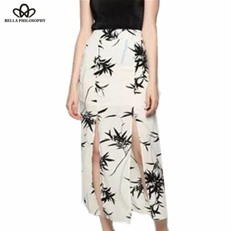 summer new bamboo leaves ink print oriental style split women long skirts white