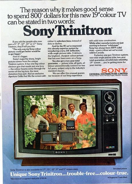 Sony Trinitron 19 inch color television. EIGHT HUNDRED DOLLARS.