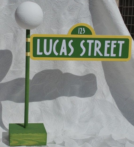 Sesame Street Sign with Lamppost by auntjjsattic on Etsy